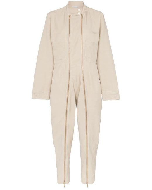 Stella McCartney - Natural Zip-embellished Twill Jumpsuit - Lyst