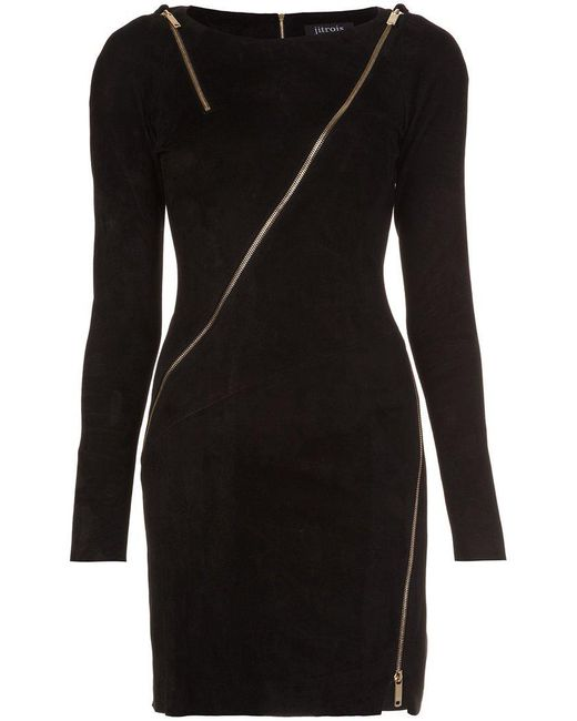 Jitrois - Black Longsleeved Allover Zipper Dress - Lyst