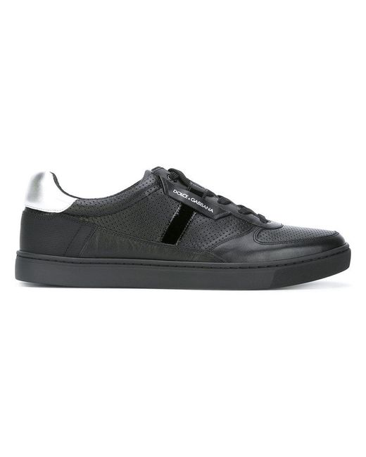 Dolce & Gabbana - Black Contrast Heel Lace-up Sneakers for Men - Lyst