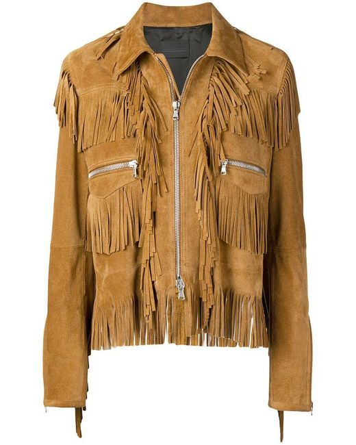 72685cbc07c Diesel Black Gold - Brown Split Suede Jacket With Fringes - Lyst ...