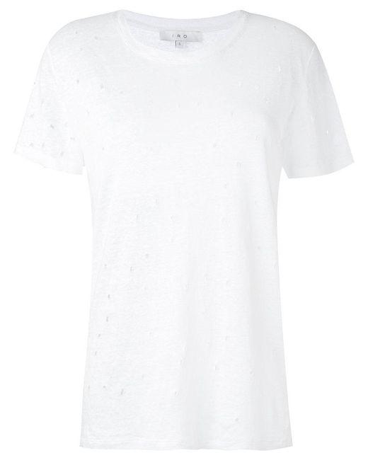 IRO - White Lightly Distressed T-shirt - Lyst