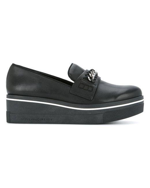 8b25f4e3fee Stella McCartney - Black Chain-trimmed Binx Loafers - Lyst ...