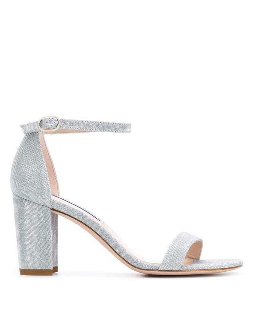 fd938e39fd1 Stuart Weitzman - Metallic Ankle Strap Sandals - Lyst ...
