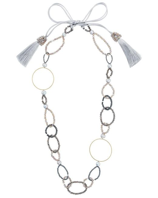 Night Market   Metallic Bead And Ring Long Necklace   Lyst
