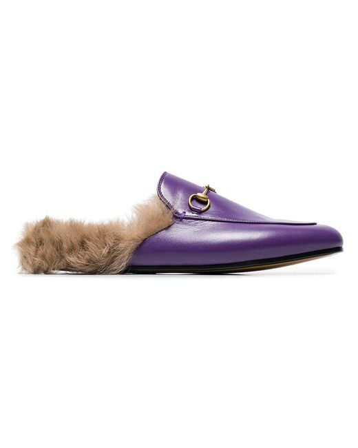 2889b64df Gucci - Pink Purple Princetown Fur Lined Leather Mules - Lyst ...