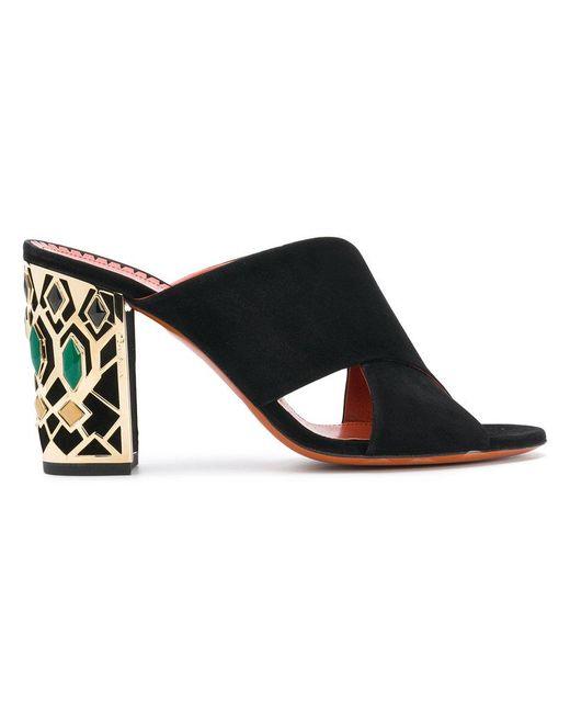 Santoni - Black Embellished Heel Sandals - Lyst