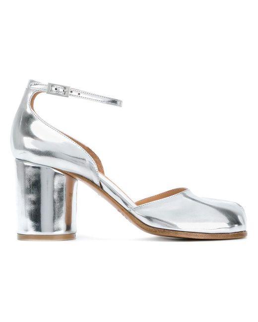Maison Margiela - Metallic Tabi Ankle Strap Pumps - Lyst