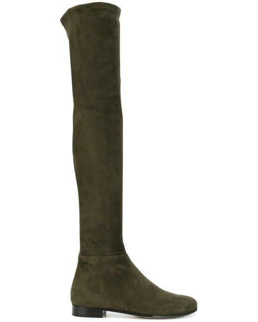 Jimmy Choo | Green Myren Stretch-Suede Over-The-Knee Boots | Lyst