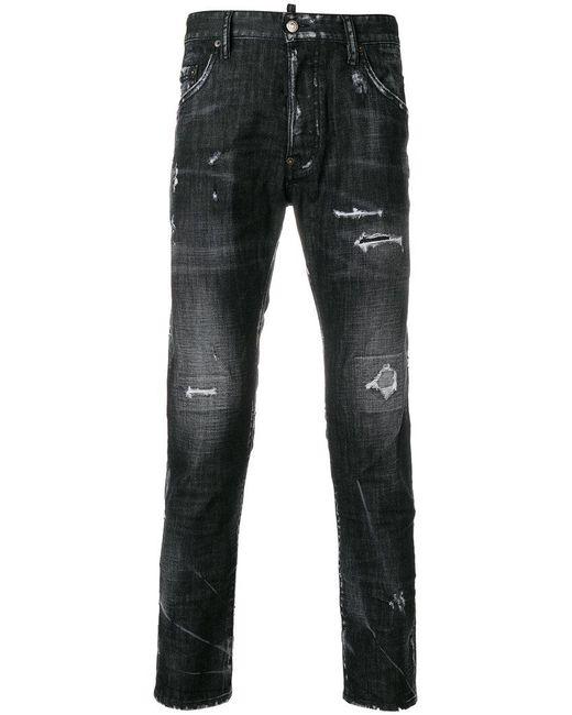 DSquared² - Black Skater Distressed Jeans for Men - Lyst