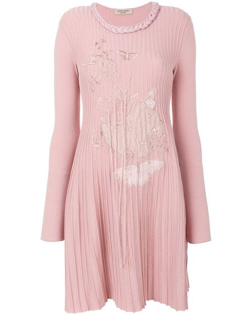 Piccione ribbed butterfly embroidered dress in