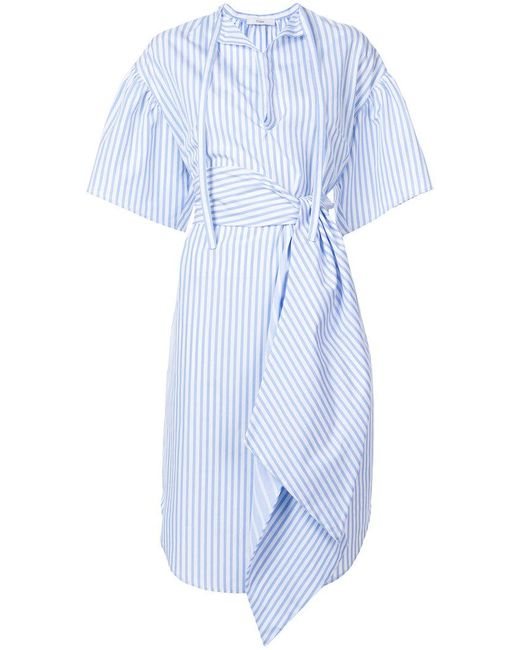 TOME - Blue Striped Asymmetrical Dress - Lyst