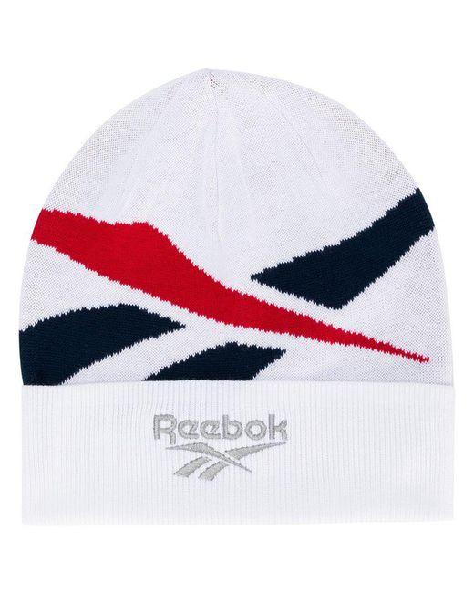 Reebok - White Logo Beanie - Lyst