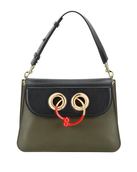J.W. Anderson | Green Medium Bi-colour Pierce Bag With Gold And Red Hoop | Lyst