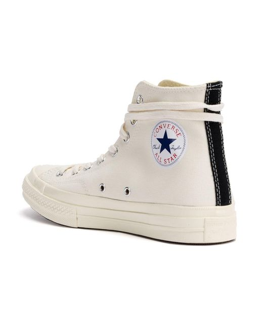 converse high tops white. play comme des garçons | white chuck taylor canvas high-top sneakers lyst converse high tops