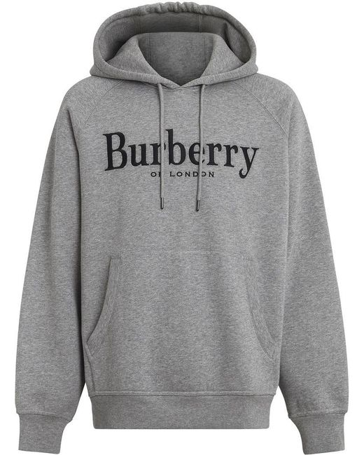 b8dbb7a937a Burberry Embroidered Logo Hoodie in Gray for Men - Save ...