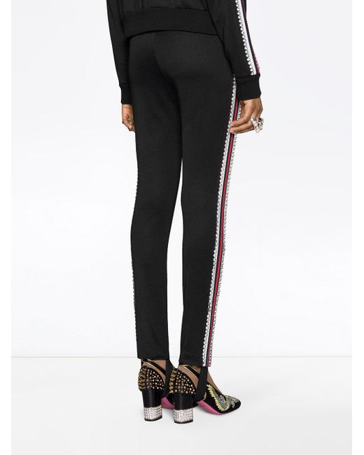 432121a9b5e3 ... Gucci - Black Technical Jersey Stirrup Leggings With Crystals - Lyst