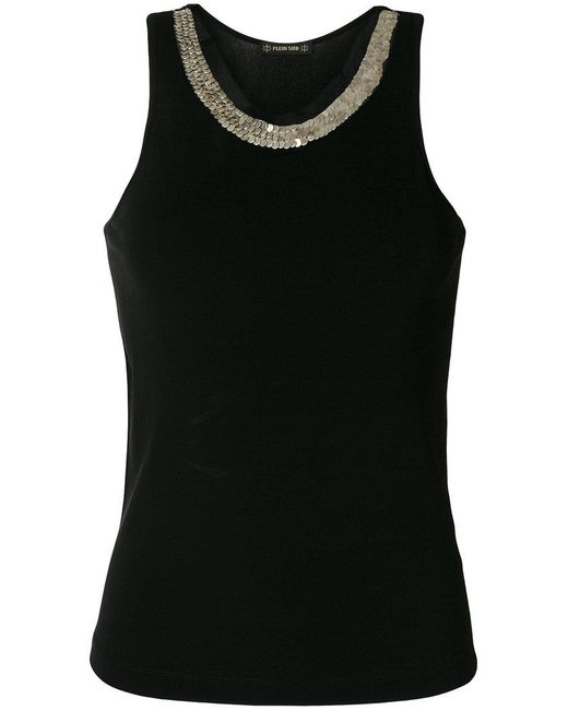 Plein Sud - Black Embellished Neckline Tank Top - Lyst