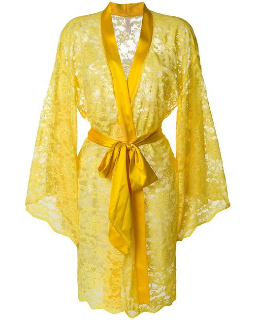 Dolci Follie Lace-embroidered Gown in Yellow - Lyst