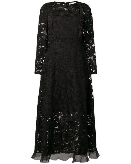Womens Black Long Sleeved Lace Dress