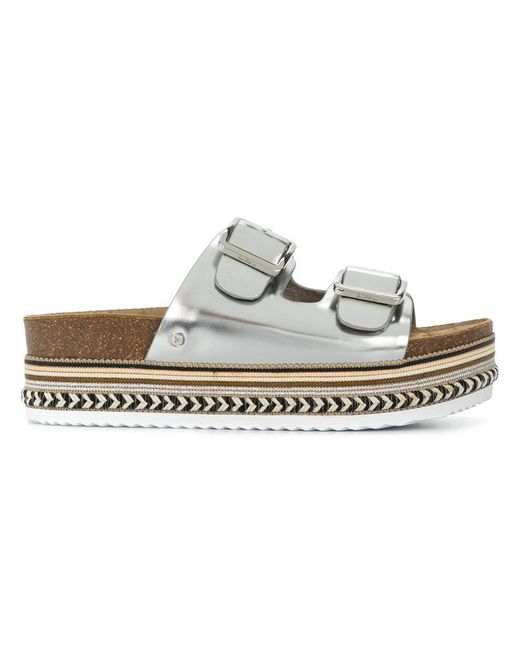 Sam Edelman - Metallic Buckled Flatform Sandals - Lyst