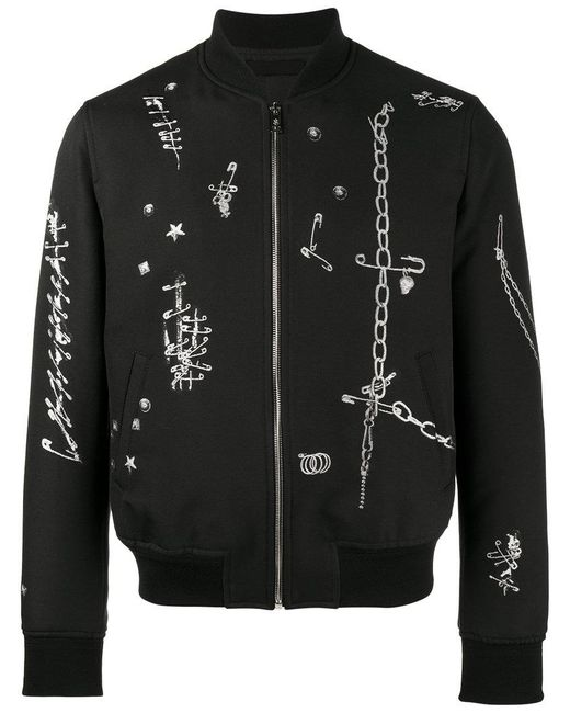 Alexander McQueen - Black Safety Pin Print Bomber Jacket for Men - Lyst