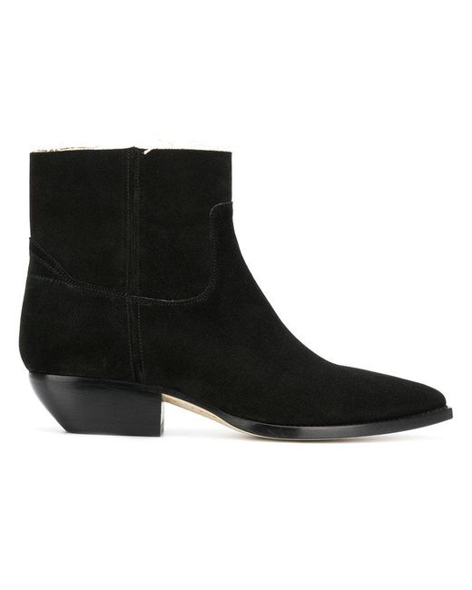 Saint Laurent - Black Frayed-edge Pointed Ankle Boots - Lyst