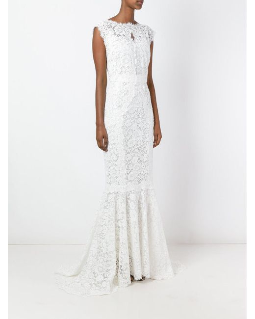 cde1773d697 ... Lyst Dolce   Gabbana - White Lace Fish Tail Gown ...
