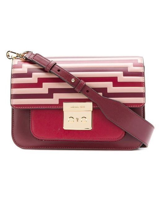 1fb0f84d0ea14 MICHAEL Michael Kors - Red Sloan Studded Leather Crossbody Bag - Lyst ...