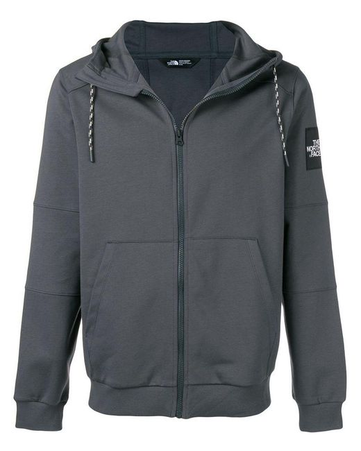 The North Face - Gray Zipped Hoodie for Men - Lyst