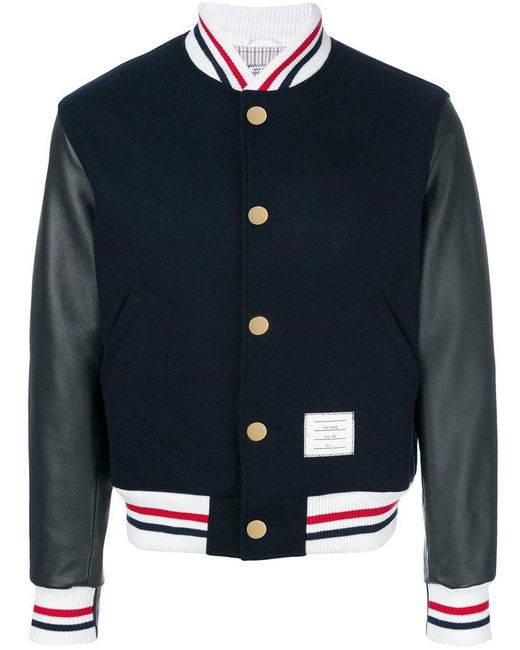 Thom Browne - Blue Button Front Melton Wool Varsity Jacket for Men - Lyst