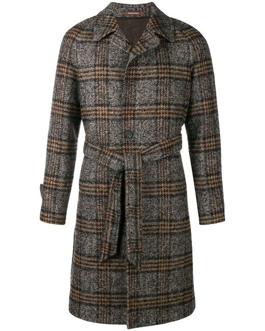 Tagliatore - Brown Checked Single Breasted Coat for Men - Lyst