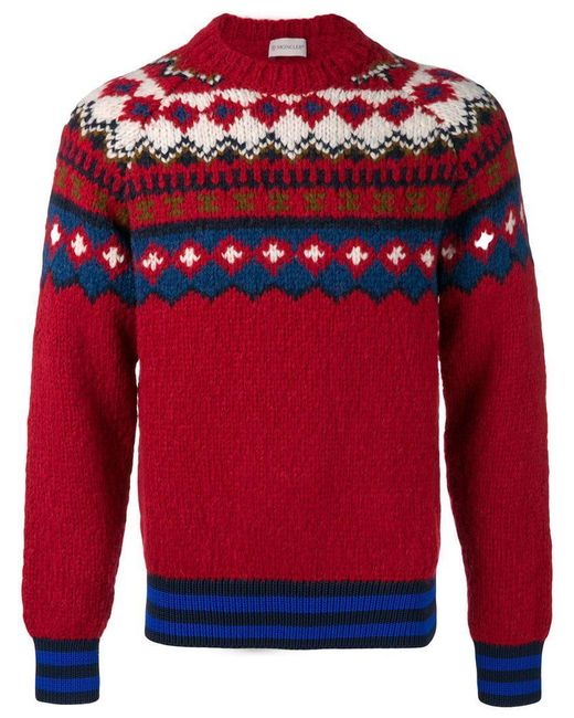 2d272b17a8ee3 Moncler - Red Fair Isle Wool-blend Sweater for Men - Lyst ...