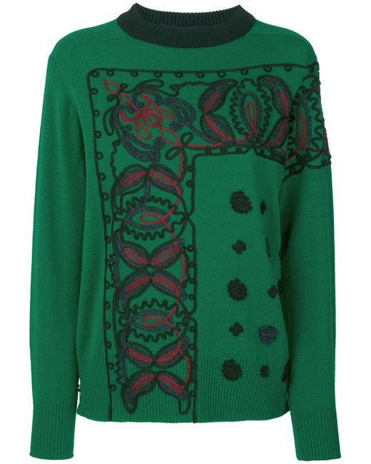 Sacai | Green Braided Knit Sweater | Lyst