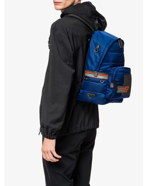 5846eb7533ad ... Prada - Blue Nylon And Saffiano Leather Backpack for Men - Lyst ...