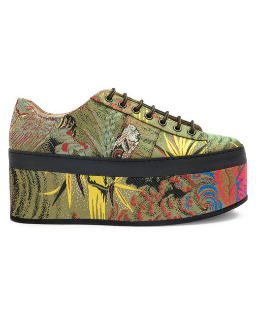 Gucci - Green Tiger Jacquard Platform Shoes - Lyst