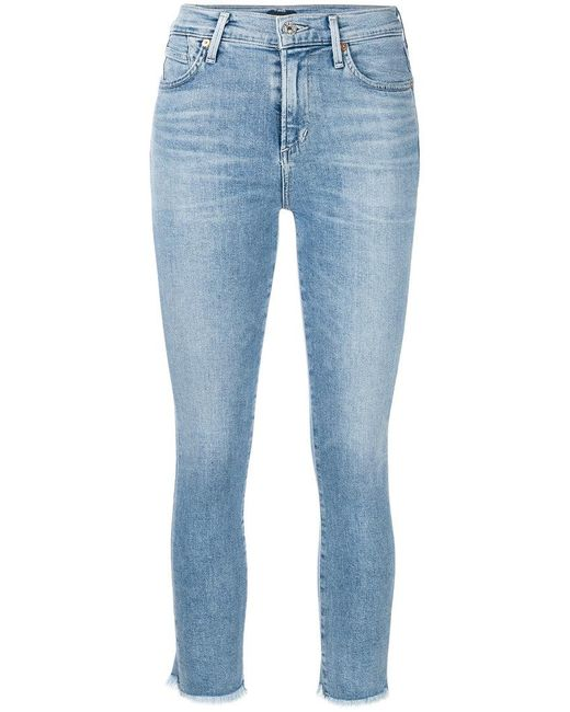 Citizens of Humanity - Blue Frayed Cropped Skinny Jeans - Lyst