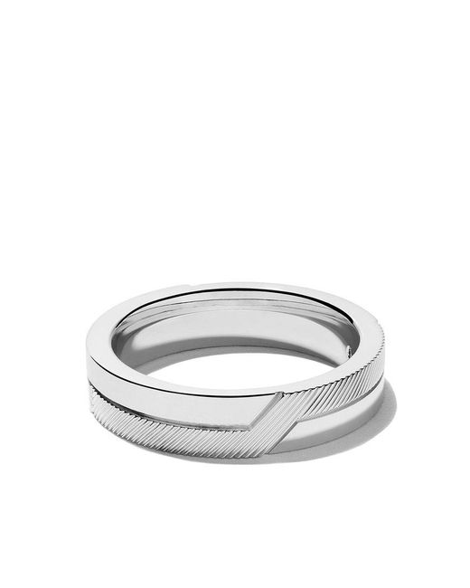 De Beers - 18kt White Gold Promise Half Textured Band - Lyst