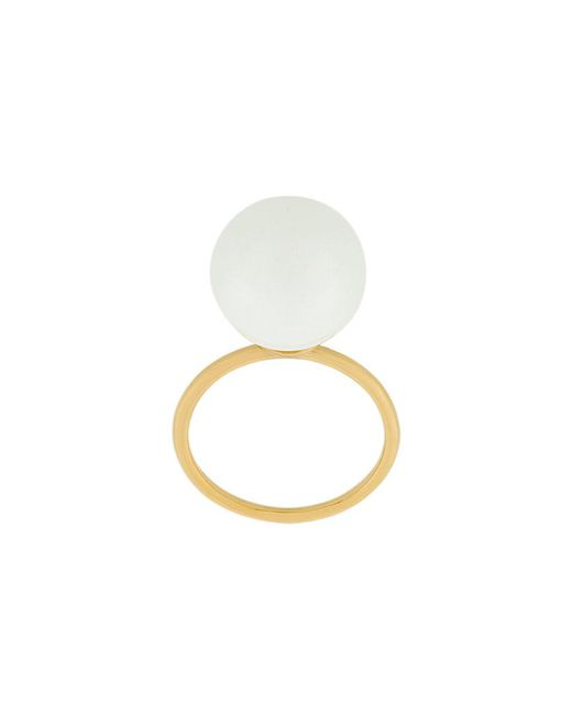 Aurelie Bidermann - White Freshwater Pearl Band Ring - Lyst
