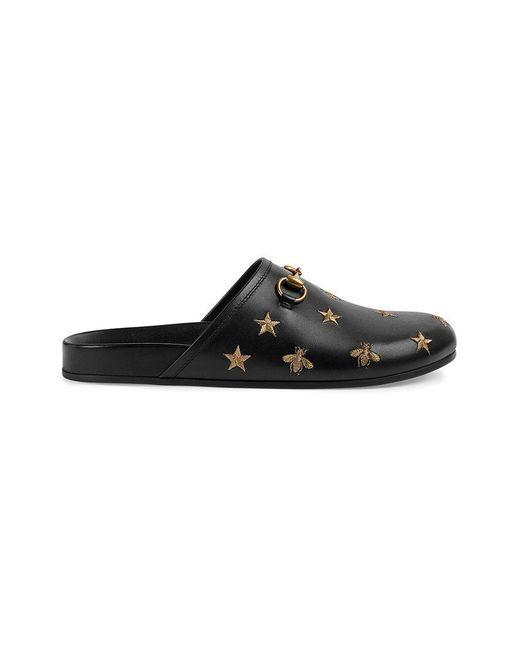 Gucci - Black Horsebit Embroidered Leather Slipper for Men - Lyst
