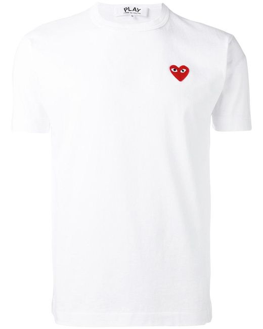 Play Comme des Garçons | White Heart Logo Patch T-shirt for Men | Lyst