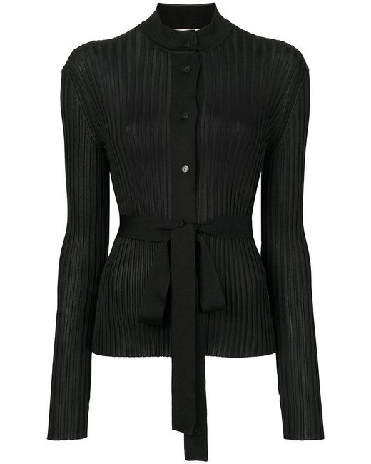 Emilio Pucci | Black Belted Ribbed-knit Cardigan | Lyst