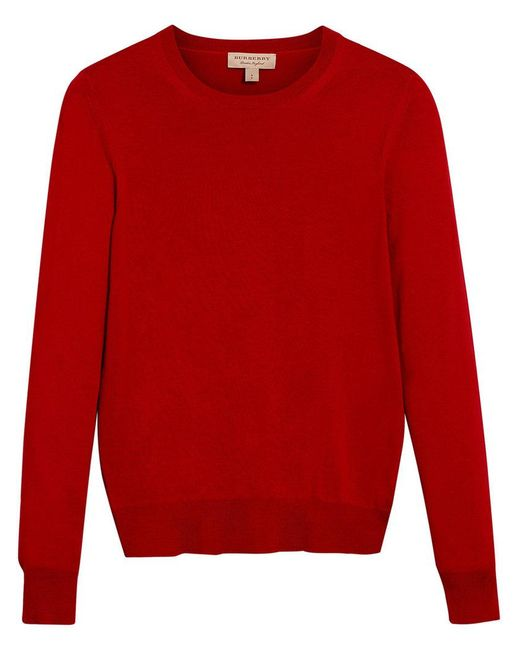 Burberry - Red Check Detail Sweater - Lyst