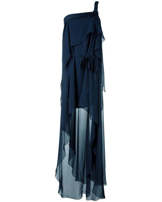 Alberta Ferretti | Blue One-shoulder Draped Dress | Lyst