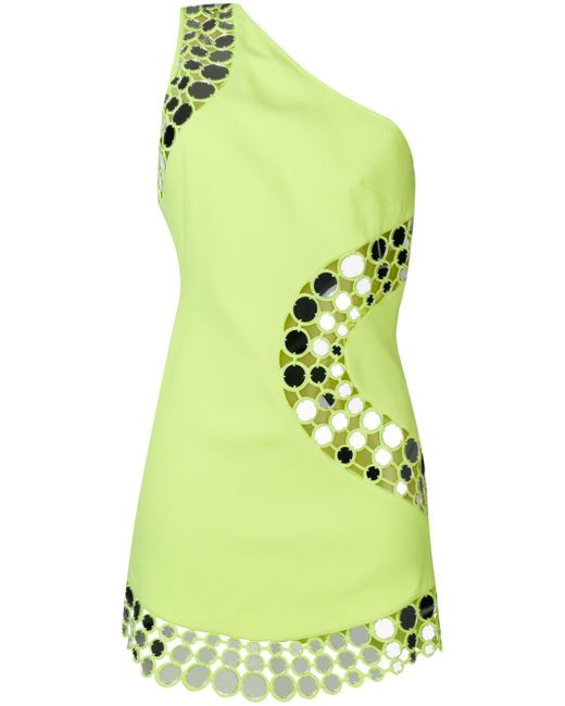 David Koma - Yellow Circles Detail One Shoulder Dress - Lyst