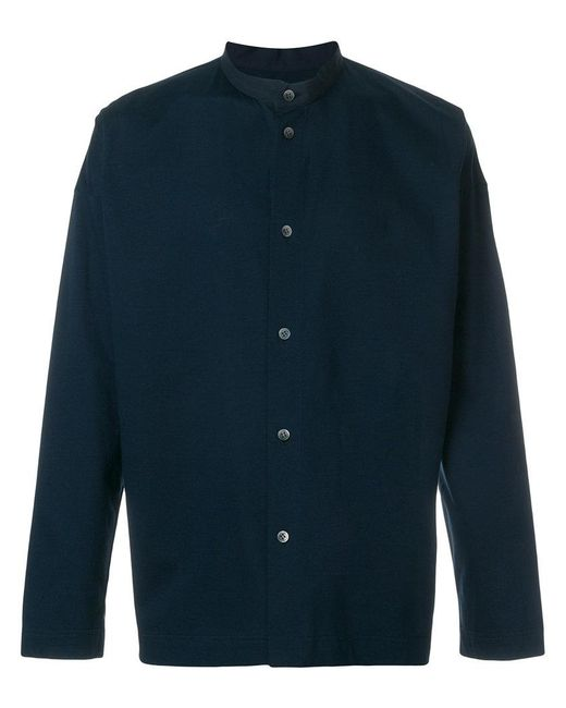 Homme Plissé Issey Miyake - Blue Band Collar Shirt for Men - Lyst