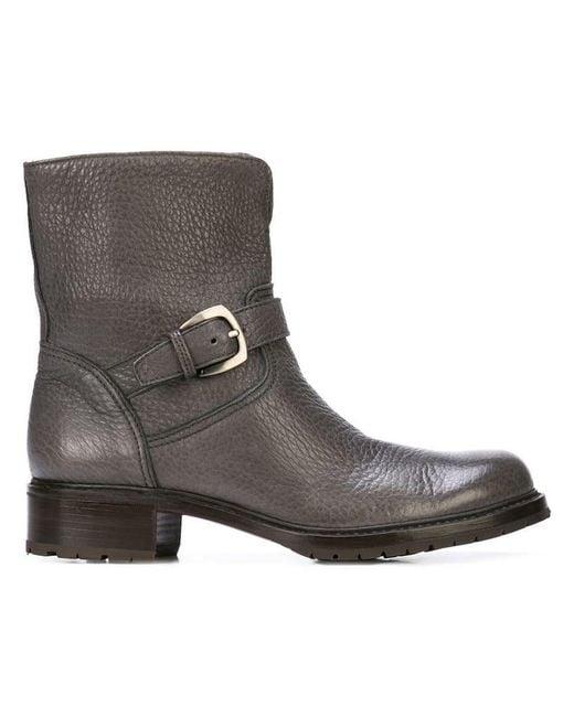 Gravati - Gray Buckle Biker Boots - Lyst