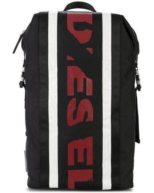 DIESEL - Black Branded Backpack for Men - Lyst