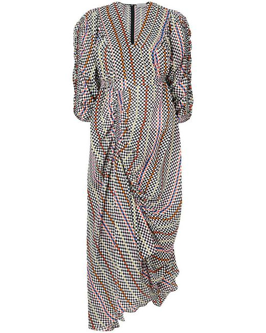 Preen By Thornton Bregazzi - Multicolor Checkerboard Gathered Detail Dress - Lyst