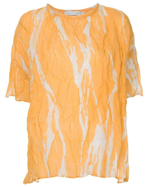 Christopher Esber - Yellow Ruched Shortsleeved Blouse - Lyst