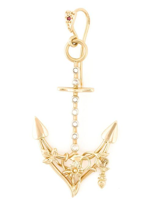 Natasha Zinko - Metallic Diamond Detail Anchor Earring - Lyst